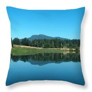 Mt Prevost Over Quamichan Lake Throw Pillow