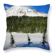 Mt Rainier And Three Trees Throw Pillow