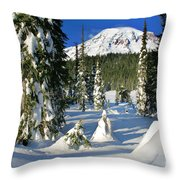 Mt Rainier At Reflection Lakes In Winter Throw Pillow