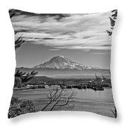 Mt. Rainier Over The Port Of Tacoma Throw Pillow