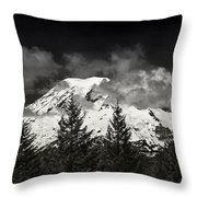 Mt Rainier Panorama B W Throw Pillow