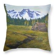 Mt Rainier Ranch Throw Pillow