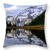 Mt. Rainier On Aurora Lake Throw Pillow