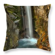 Mt Rainier Waterfall Throw Pillow