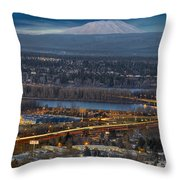 Mt Saint Helens During Blue Hour Throw Pillow