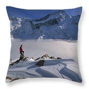 Mt Sefton Climber At Mueller Glacier Throw Pillow