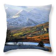 Mt Snowdon Snowdonia The Snowdon Horseshoe From Llynnau Mymbyr Throw Pillow
