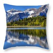 Mt. Timpanogos Reflected In Silver Flat Reservoir - Utah Throw Pillow