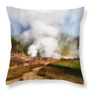 Mud Volcano And Sulphur Caldron  Throw Pillow