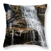 Muddy Creek Falls At Low Water At Swallow Falls State Park In Western Maryland Throw Pillow
