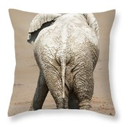 Muddy Elephant With Funny Stance  Throw Pillow