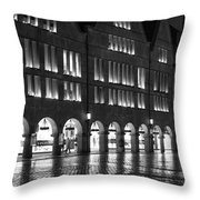 Cobblestone Night Walk In The Town Throw Pillow