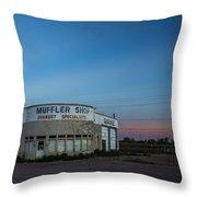Muffler Shop Throw Pillow