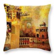 Mughal Art Throw Pillow