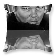 Muhammad Ali Formerly Known As Cassius Clay Version II With Reflection Throw Pillow by Jim Fitzpatrick