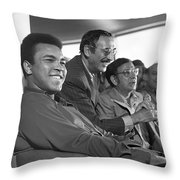 Muhammad Ali In Relaxed Mood At Dublin Airport Throw Pillow