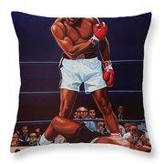 Muhammad Ali Versus Sonny Liston Throw Pillow by Paul Meijering
