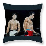 Muhammad Ali Vs George Foreman Throw Pillow by Jim Fitzpatrick