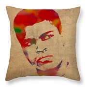 Muhammad Ali Watercolor Portrait On Worn Distressed Canvas Throw Pillow