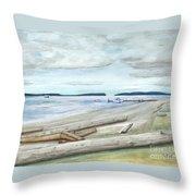 Mukilteo Beach Throw Pillow