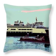 Mukilteo Clinton Ferry Panel 3 Of 3 Throw Pillow