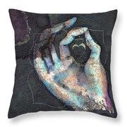 Muladhara - Root 'blue Hand' Chakra Mudra Throw Pillow