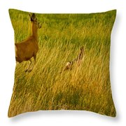 Mule Deer Doe And Fawn-signed-#0365 Throw Pillow