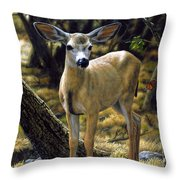 Mule Deer Fawn - Monarch Moment Throw Pillow by Crista Forest