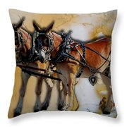 Mules In Full Dress Throw Pillow