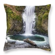 Multhomah Falls In Winter Throw Pillow