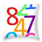 Multi-color Numbers Throw Pillow