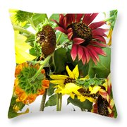 Multi-color Sunflowers Throw Pillow