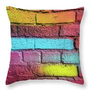 Multi-colored Brick Wall Throw Pillow
