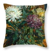 Multi Colored Chrysanthemums Throw Pillow