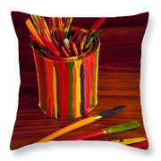 Multi Colored Paint Brushes Throw Pillow