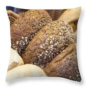 Multi Grain Bagels Closeup Throw Pillow