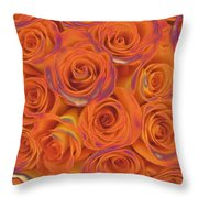 Multi Rose Electric Orange Throw Pillow