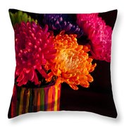 Multicolored Chrysanthemums In Paint Can On Chest Of Drawers Int Throw Pillow