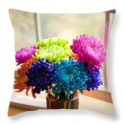 Multicolored Chrysanthemums In Paint Can On Window Sill Throw Pillow