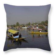 Multiple Number Of Shikaras On The Water Of The Dal Lake In Srinagar Throw Pillow