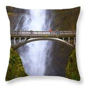 Multnomah Falls Bridge In Oregon Throw Pillow