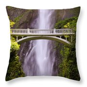 Multnomah Falls Silk Throw Pillow