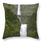 Multnomah Falls Up The Gorge Throw Pillow