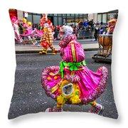 Mummer In A Pink Dress Throw Pillow