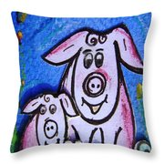 Mummy And Baby Pig  Throw Pillow