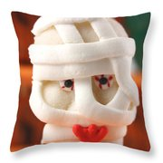 Mummy Sweet On Halloween Cup Cake Throw Pillow