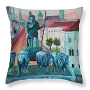 Munich Leopold Str. With Bavaria And Alps Throw Pillow