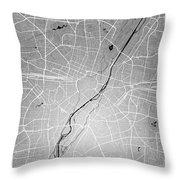 Munich Street Map - Munich Germany Road Map Art On Colored Backg Throw Pillow