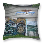 Mural Along Westerlo Avenue Throw Pillow