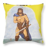 Mural Of Legendary Irish Giant Fionn Throw Pillow